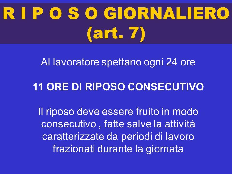 R I P O S O GIORNALIERO (art. 7) Al lavoratore spettano ogni 24 ore 11 ORE DI RIPOSO CONSECUTIVO Il riposo deve essere fruito in modo consecutivo, fat