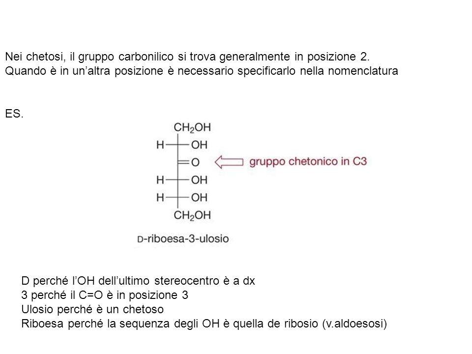 Nei chetosi, il gruppo carbonilico si trova generalmente in posizione 2. Quando è in unaltra posizione è necessario specificarlo nella nomenclatura ES