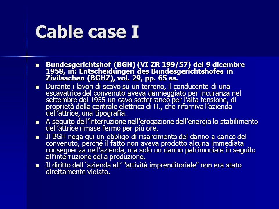 Cable case I Bundesgerichtshof (BGH) (VI ZR 199/57) del 9 dicembre 1958, in: Entscheidungen des Bundesgerichtshofes in Zivilsachen (BGHZ), vol.