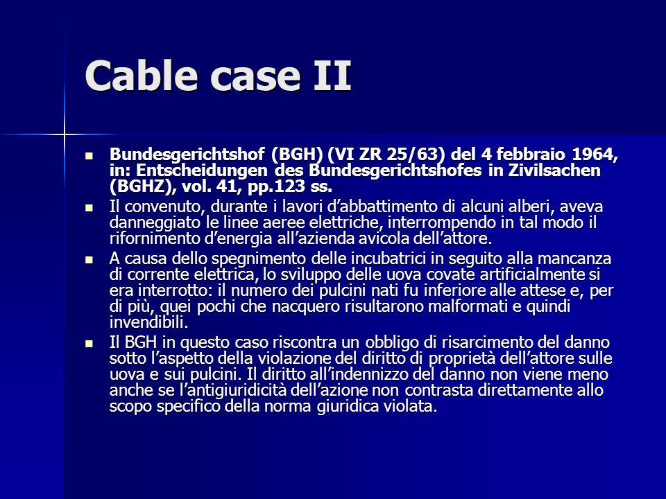 Cable case II Bundesgerichtshof (BGH) (VI ZR 25/63) del 4 febbraio 1964, in: Entscheidungen des Bundesgerichtshofes in Zivilsachen (BGHZ), vol.