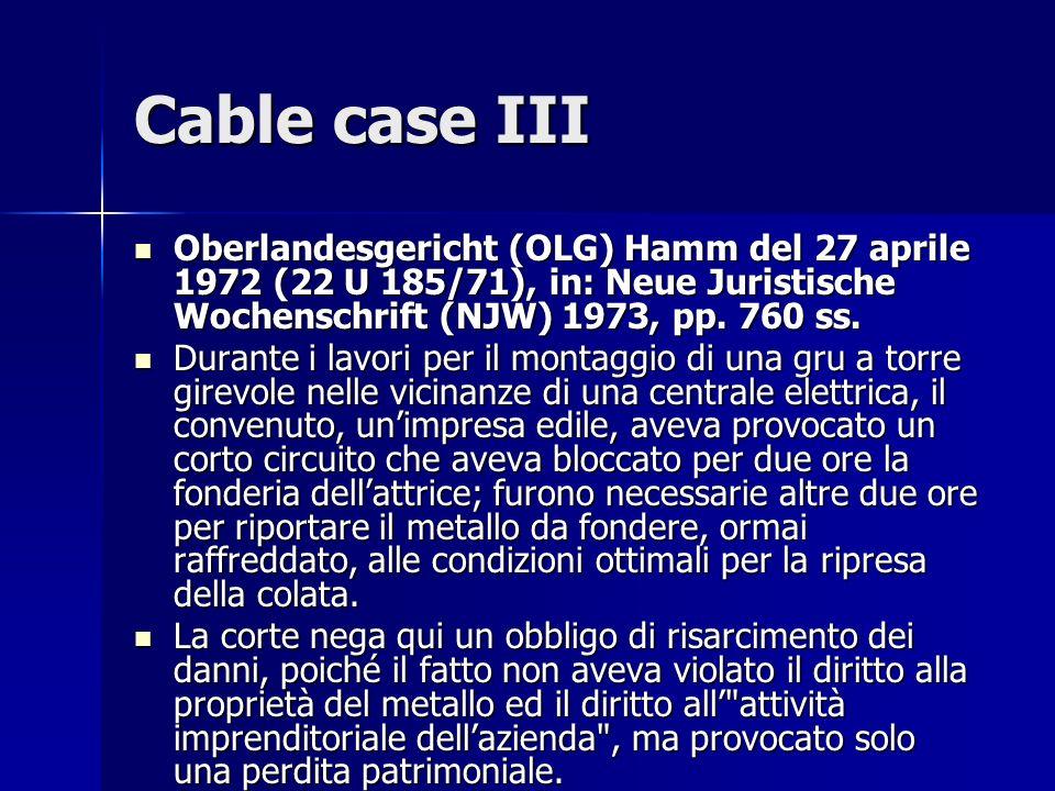 Cable case III Oberlandesgericht (OLG) Hamm del 27 aprile 1972 (22 U 185/71), in: Neue Juristische Wochenschrift (NJW) 1973, pp.