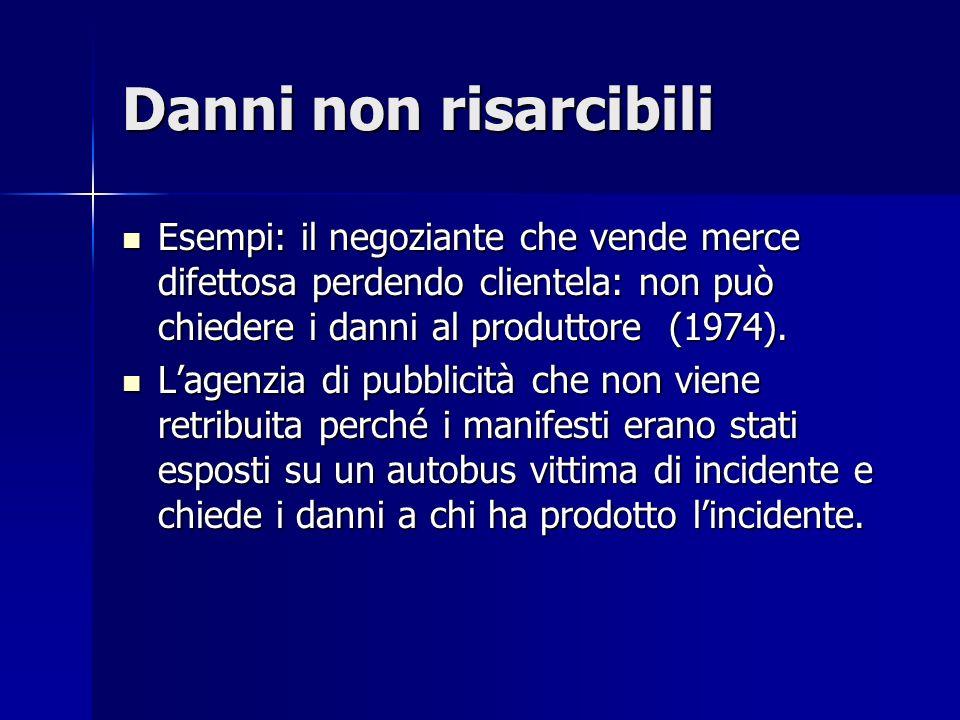 Danni non risarcibili Esempi: il negoziante che vende merce difettosa perdendo clientela: non può chiedere i danni al produttore (1974).