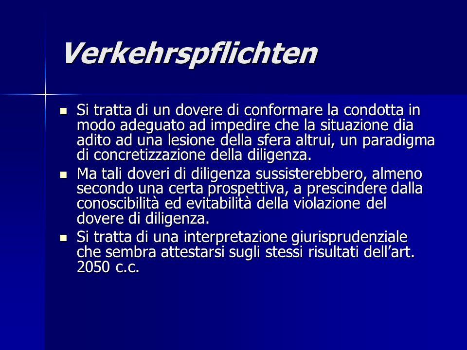 Verkehrspflichten Si tratta di un dovere di conformare la condotta in modo adeguato ad impedire che la situazione dia adito ad una lesione della sfera altrui, un paradigma di concretizzazione della diligenza.