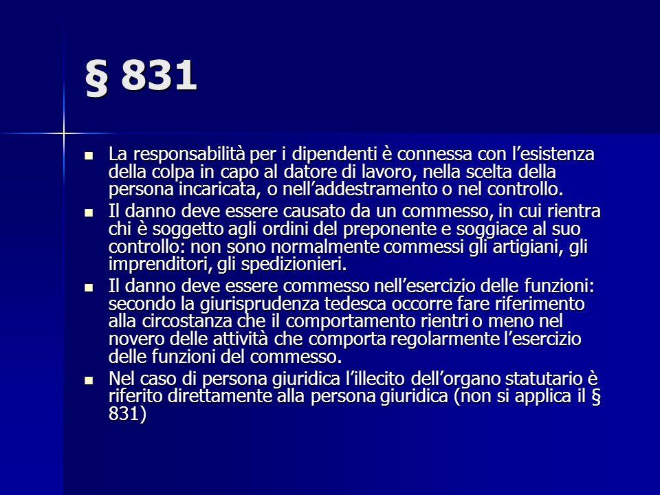 § 831 La responsabilità per i dipendenti è connessa con lesistenza della colpa in capo al datore di lavoro, nella scelta della persona incaricata, o nelladdestramento o nel controllo.