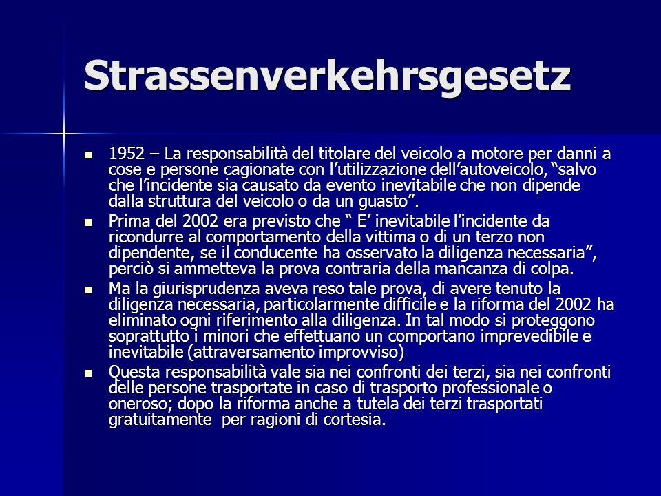 Strassenverkehrsgesetz 1952 – La responsabilità del titolare del veicolo a motore per danni a cose e persone cagionate con lutilizzazione dellautoveicolo, salvo che lincidente sia causato da evento inevitabile che non dipende dalla struttura del veicolo o da un guasto.