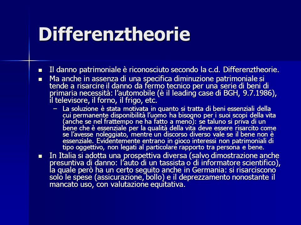 Differenztheorie Il danno patrimoniale è riconosciuto secondo la c.d.