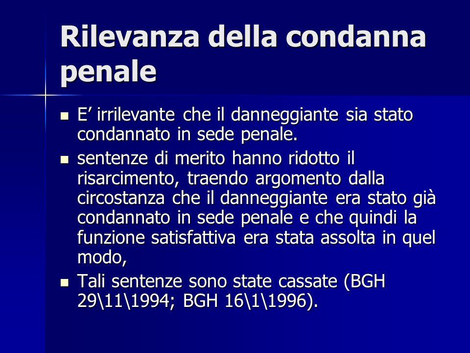 Rilevanza della condanna penale E irrilevante che il danneggiante sia stato condannato in sede penale.