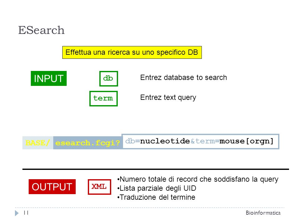 Effettua una ricerca su uno specifico DB INPUT db Entrez database to search OUTPUT XML Numero totale di record che soddisfano la query Lista parziale