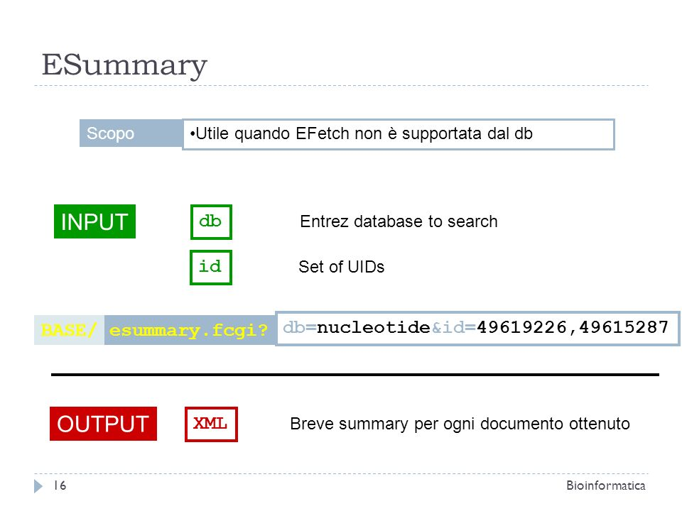 ESummary INPUT db Entrez database to search OUTPUT XML Breve summary per ogni documento ottenuto esummary.fcgi?BASE/ db=nucleotide&id=49619226,4961528