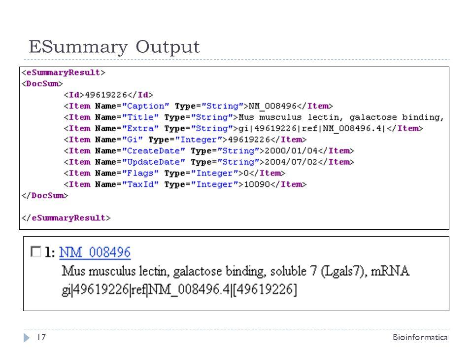 ESummary Output Bioinformatica17