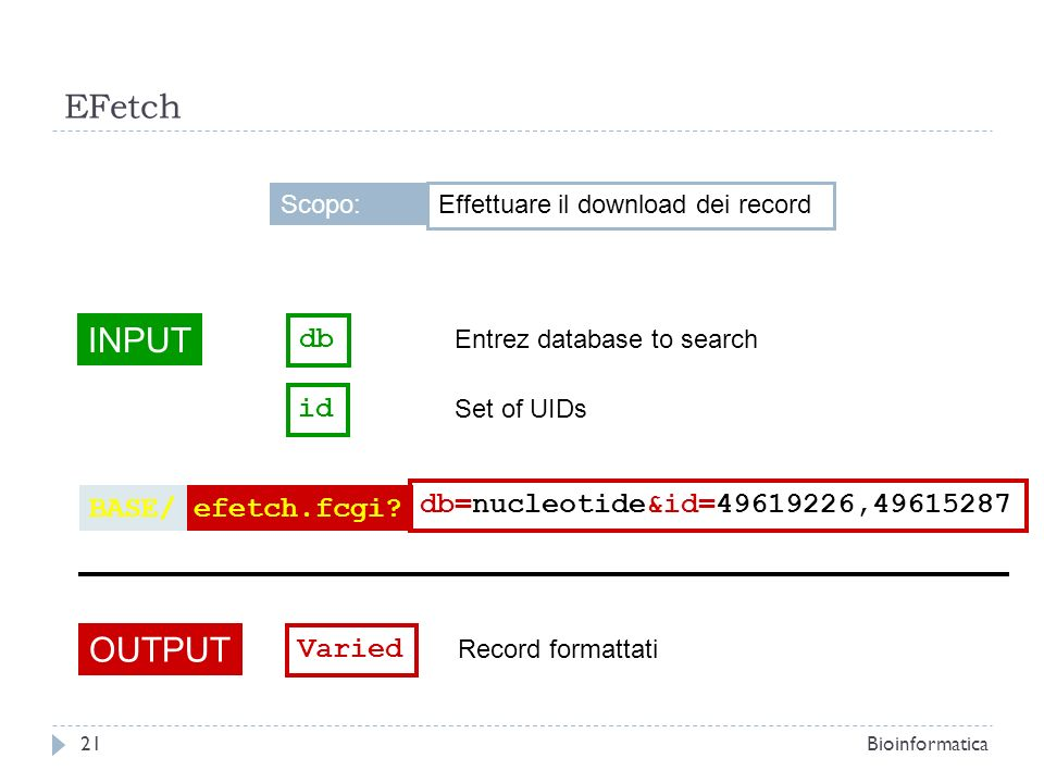 EFetch INPUT db Entrez database to search OUTPUT Varied Record formattati efetch.fcgi?BASE/ db=nucleotide&id=49619226,49615287 id Set of UIDs Effettua