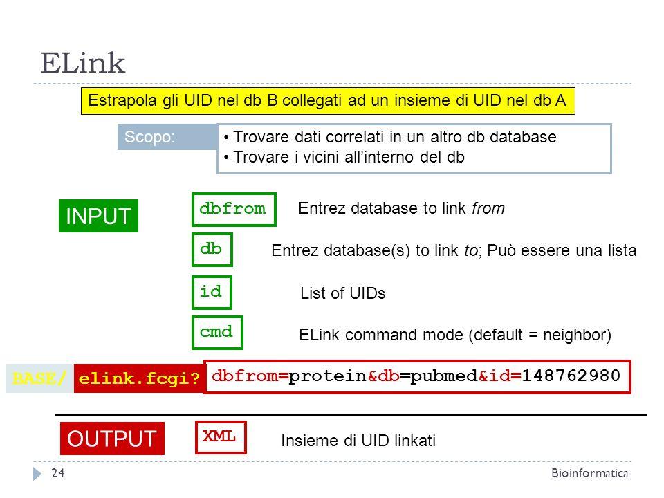 ELink Estrapola gli UID nel db B collegati ad un insieme di UID nel db A INPUT db Entrez database(s) to link to; Può essere una lista OUTPUT XML Insie