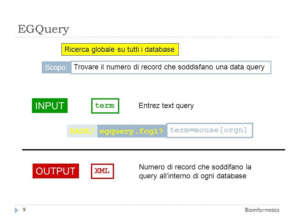 EGQuery Ricerca globale su tutti i database INPUT term Entrez text query OUTPUT XML Numero di record che soddifano la query allinterno di ogni databas
