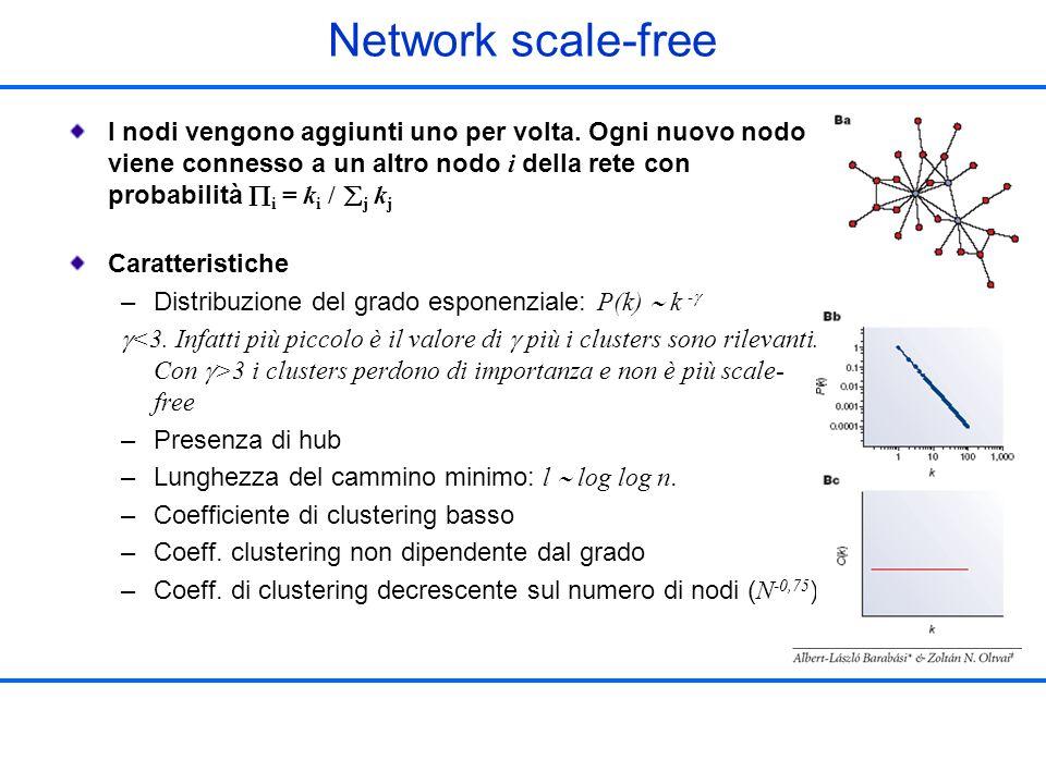 Network scale-free I nodi vengono aggiunti uno per volta. Ogni nuovo nodo viene connesso a un altro nodo i della rete con probabilità i = k i / j k j