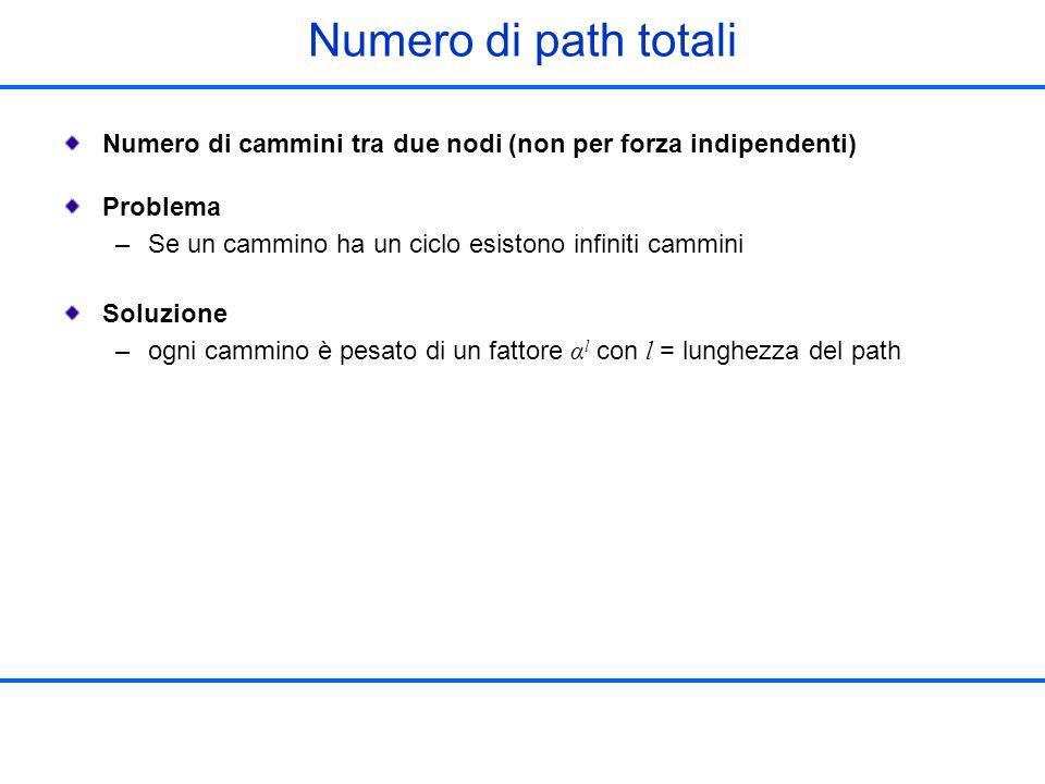 Numero di path totali Numero di cammini tra due nodi (non per forza indipendenti) Problema –Se un cammino ha un ciclo esistono infiniti cammini Soluzi