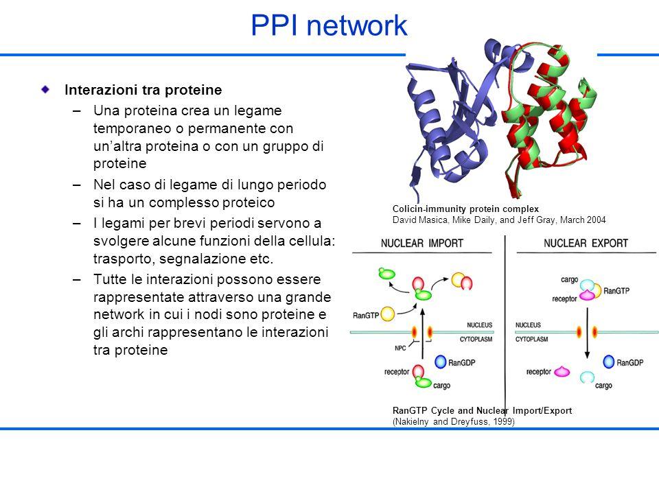 PPI network Interazioni tra proteine –Una proteina crea un legame temporaneo o permanente con unaltra proteina o con un gruppo di proteine –Nel caso d