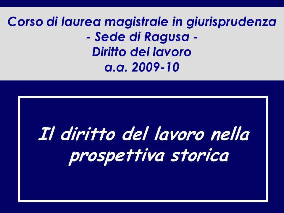 Corso di laurea magistrale in giurisprudenza - Sede di Ragusa - Diritto del lavoro a.a.