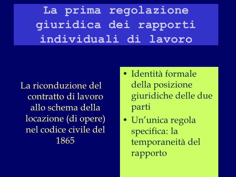 La prima regolazione giuridica dei rapporti individuali di lavoro La riconduzione del contratto di lavoro allo schema della locazione (di opere) nel codice civile del 1865 Identità formale della posizione giuridiche delle due parti Ununica regola specifica: la temporaneità del rapporto