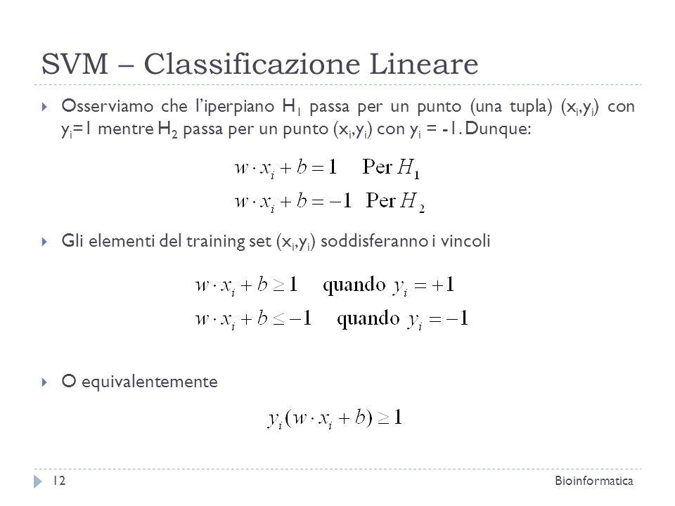 SVM – Classificazione Lineare Osserviamo che liperpiano H 1 passa per un punto (una tupla) (x i,y i ) con y i =1 mentre H 2 passa per un punto (x i,y