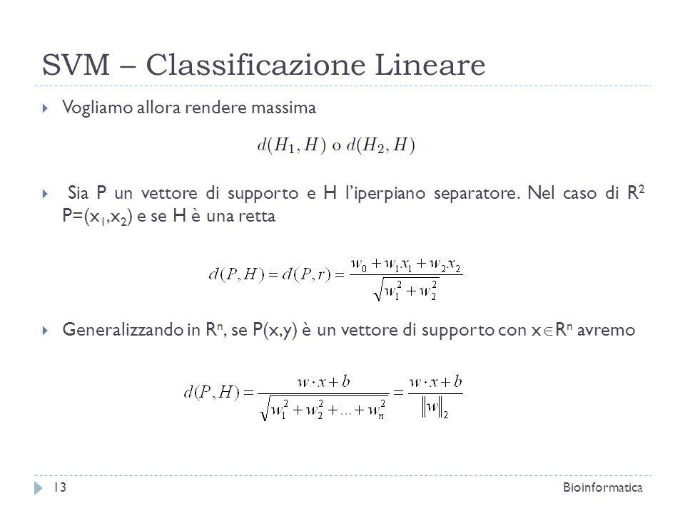 SVM – Classificazione Lineare Vogliamo allora rendere massima Sia P un vettore di supporto e H liperpiano separatore. Nel caso di R 2 P=(x 1,x 2 ) e s