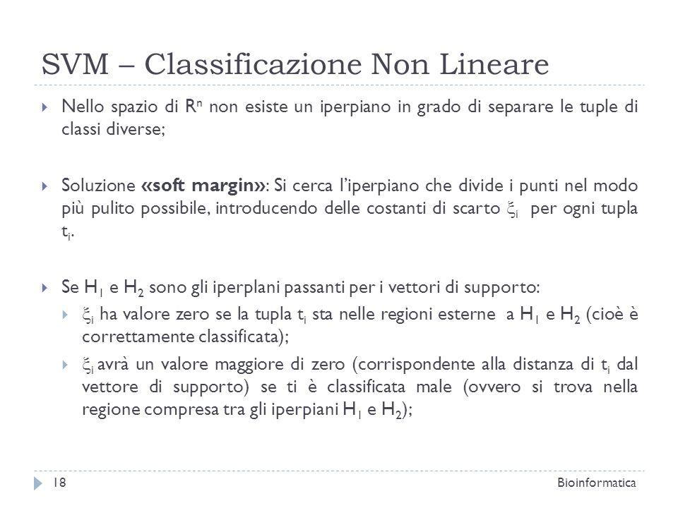 SVM – Classificazione Non Lineare Nello spazio di R n non esiste un iperpiano in grado di separare le tuple di classi diverse; Soluzione «soft margin»