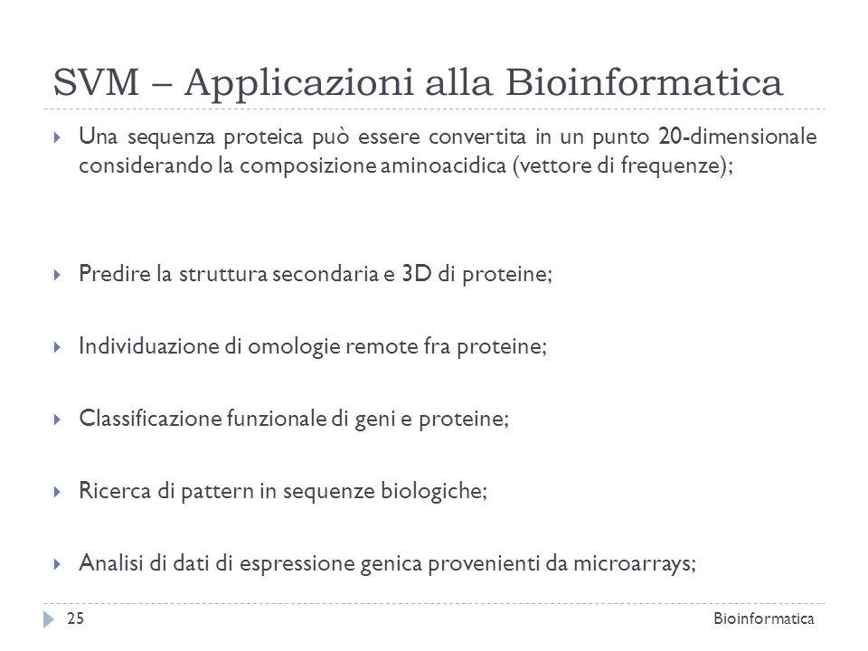 SVM – Applicazioni alla Bioinformatica Una sequenza proteica può essere convertita in un punto 20-dimensionale considerando la composizione aminoacidi