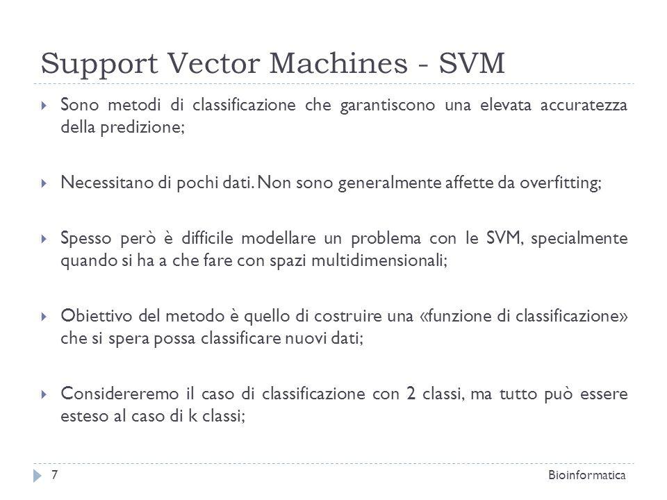 Support Vector Machines - SVM Per il calcolo della funzione f distinguiamo due casi: Classificazione Lineare (I dati sono linearmente separabili): Esiste nello spazio R n almeno un iperpiano in grado di separare le tuple del training set (punti di R n ) di classe C 1 da quelle di classe C 2 ; Classificazione non Lineare (I dati non sono linearmente separabili): Non esiste nello spazio R n un iperpiano in grado di separare le tuple di classi diverse; Bioinformatica8