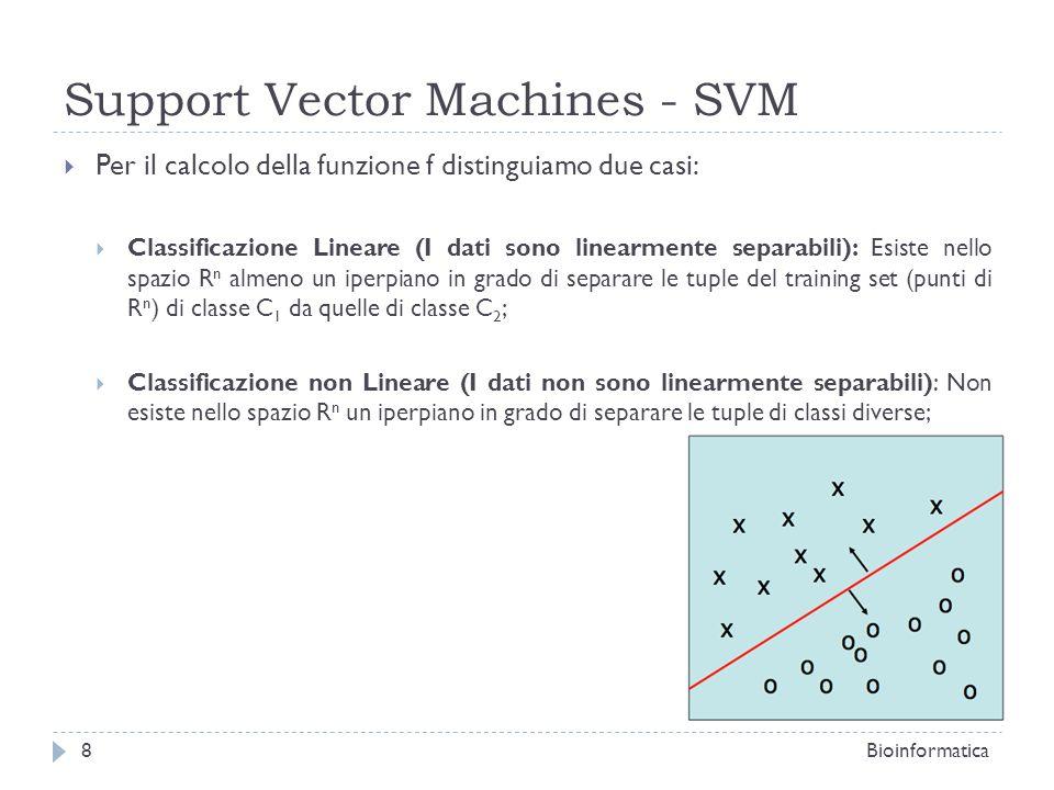 SVM – Classificazione Lineare Trovare liperpiano che separa «meglio», cioè liperpiano che rende massimo il margine, ovvero la distanza tra liperpiano e il punto di classe C 1 (o C 2 ) più vicino ad esso; Tale iperpiano è detto Maximum Marginal Hyperplane (MMH); Per R 2 bisogna trovare la retta che rende massima la distanza dal punto più vicino di C 1 o C 2 ; Bioinformatica9