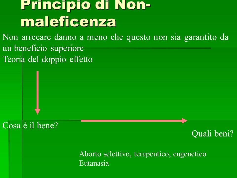 Principio di Non- maleficenza Non arrecare danno a meno che questo non sia garantito da un beneficio superiore Teoria del doppio effetto Cosa è il ben