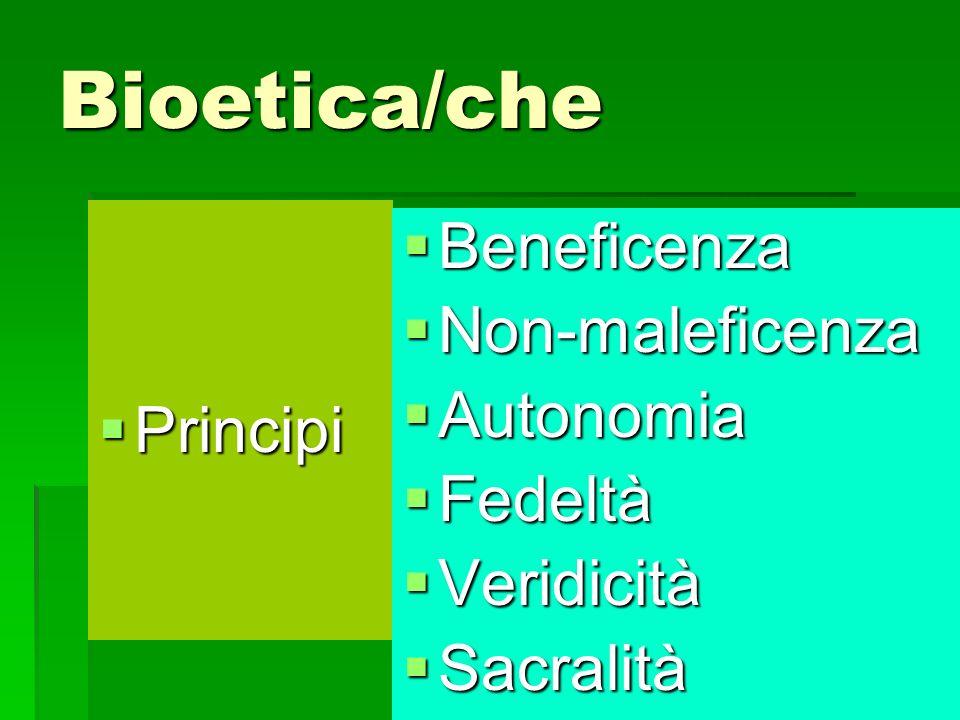 Bioetica/che Principi Principi Beneficenza Beneficenza Non-maleficenza Non-maleficenza Autonomia Autonomia Fedeltà Fedeltà Veridicità Veridicità Sacra