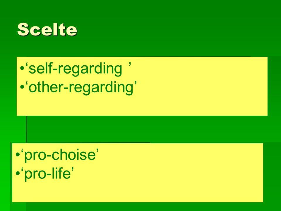Scelte self-regarding other-regarding pro-choise pro-life