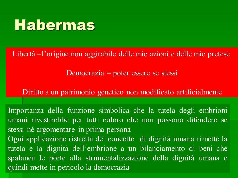 Habermas Libertà =lorigine non aggirabile delle mie azioni e delle mie pretese Democrazia = poter essere se stessi Diritto a un patrimonio genetico no