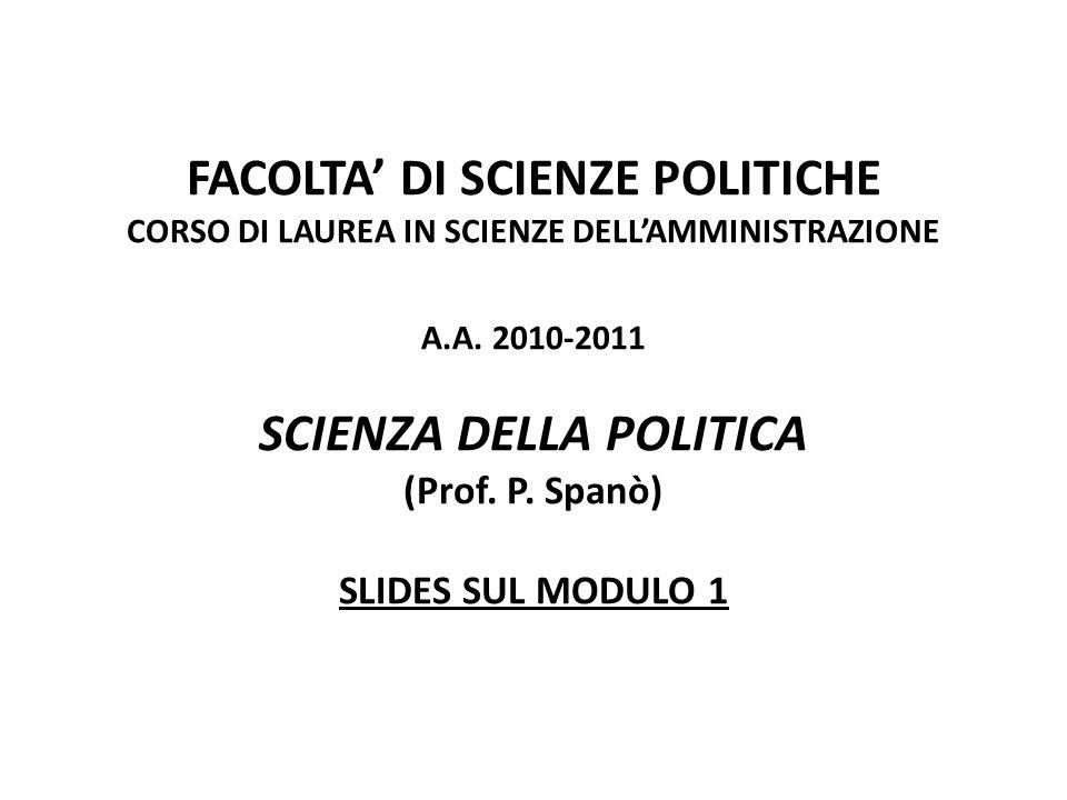 FACOLTA DI SCIENZE POLITICHE CORSO DI LAUREA IN SCIENZE DELLAMMINISTRAZIONE A.A. 2010-2011 SCIENZA DELLA POLITICA (Prof. P. Spanò) SLIDES SUL MODULO 1