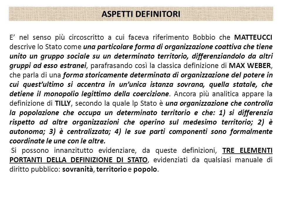 E nel senso più circoscritto a cui faceva riferimento Bobbio che MATTEUCCI descrive lo Stato come una particolare forma di organizzazione coattiva che