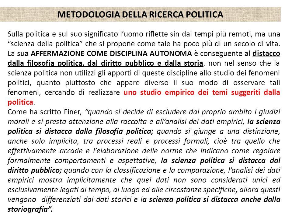 METODOLOGIA DELLA RICERCA POLITICA Sulla politica e sul suo significato luomo riflette sin dai tempi più remoti, ma una scienza della politica che si
