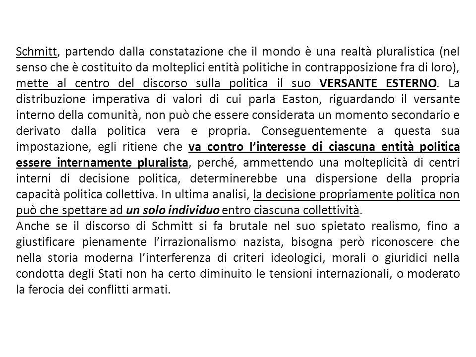 Schmitt, partendo dalla constatazione che il mondo è una realtà pluralistica (nel senso che è costituito da molteplici entità politiche in contrapposi
