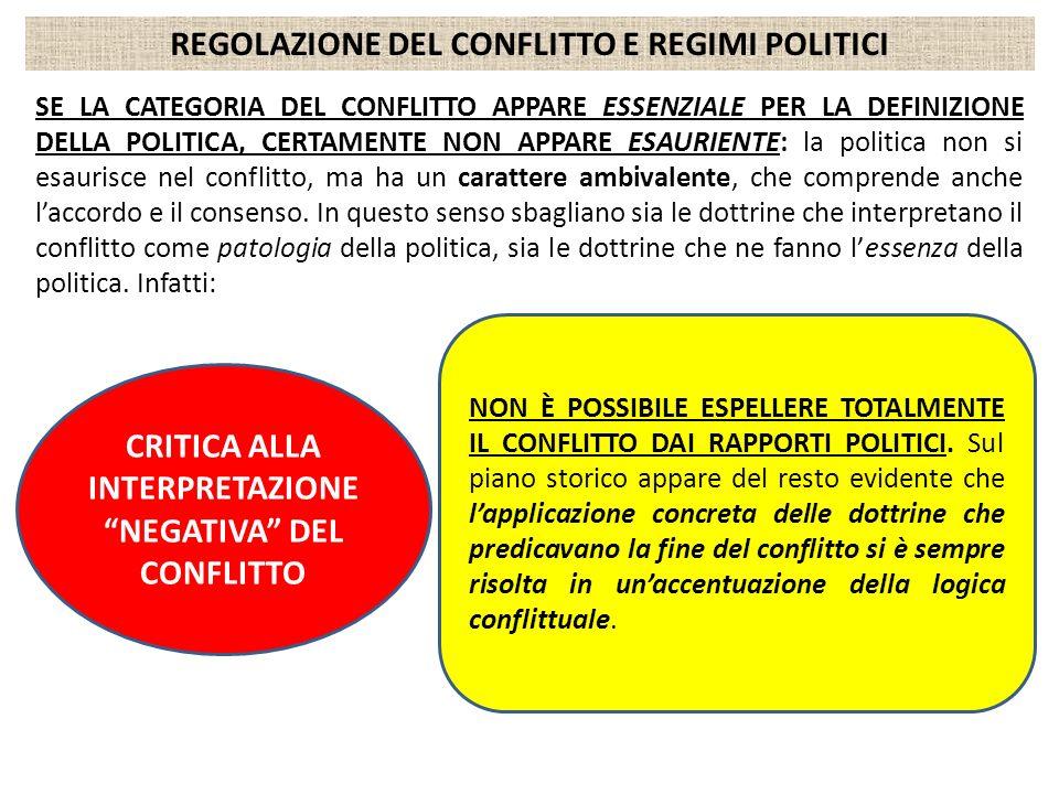 REGOLAZIONE DEL CONFLITTO E REGIMI POLITICI SE LA CATEGORIA DEL CONFLITTO APPARE ESSENZIALE PER LA DEFINIZIONE DELLA POLITICA, CERTAMENTE NON APPARE E
