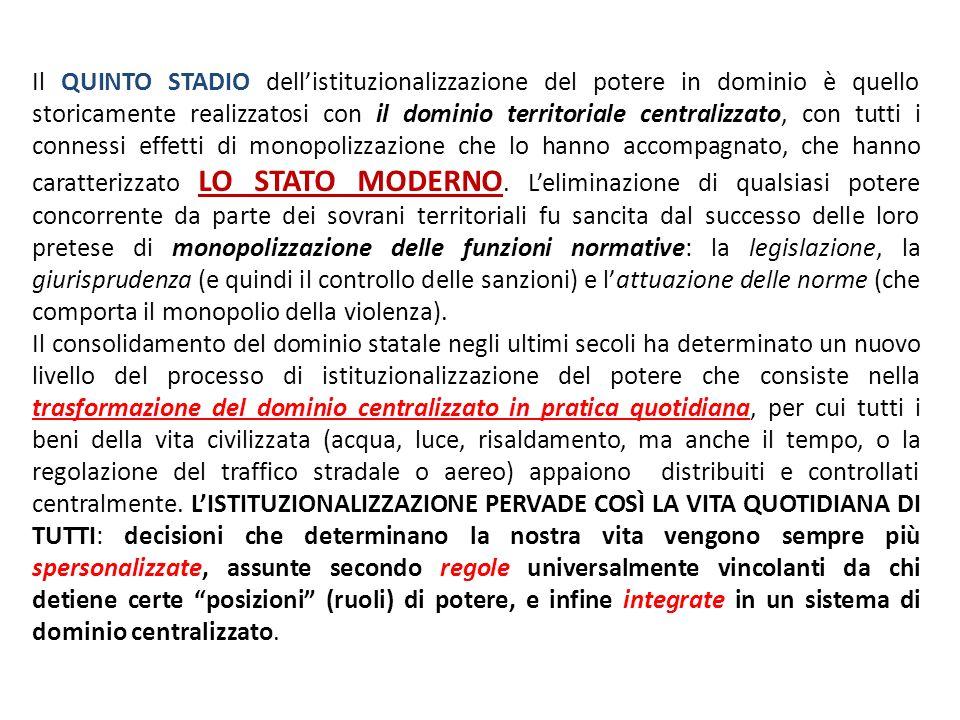 Il QUINTO STADIO dellistituzionalizzazione del potere in dominio è quello storicamente realizzatosi con il dominio territoriale centralizzato, con tut