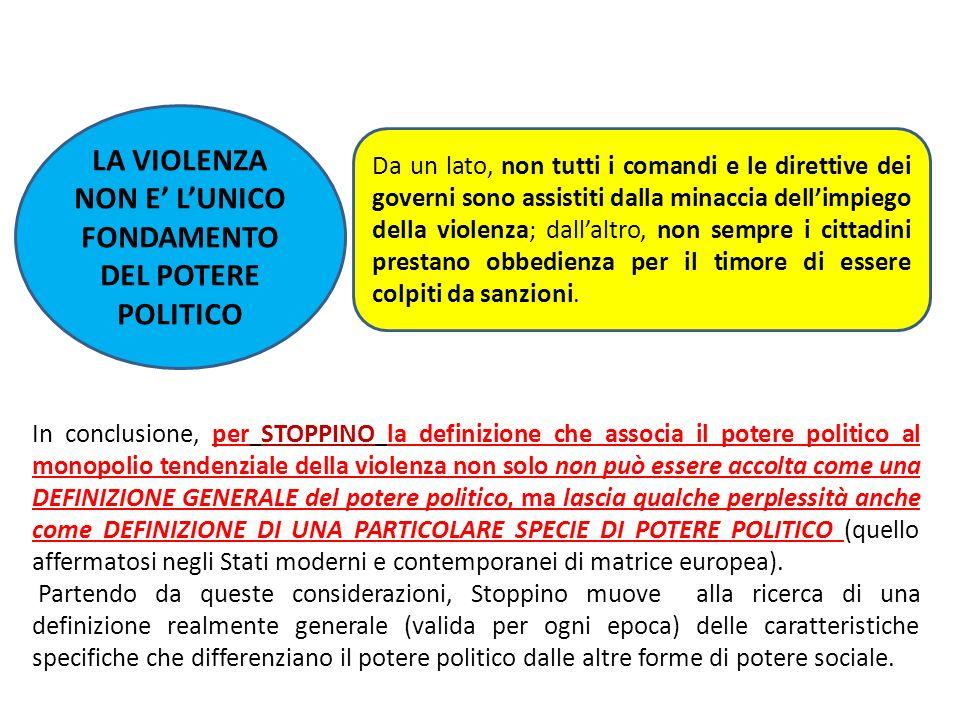 LA VIOLENZA NON E LUNICO FONDAMENTO DEL POTERE POLITICO Da un lato, non tutti i comandi e le direttive dei governi sono assistiti dalla minaccia delli
