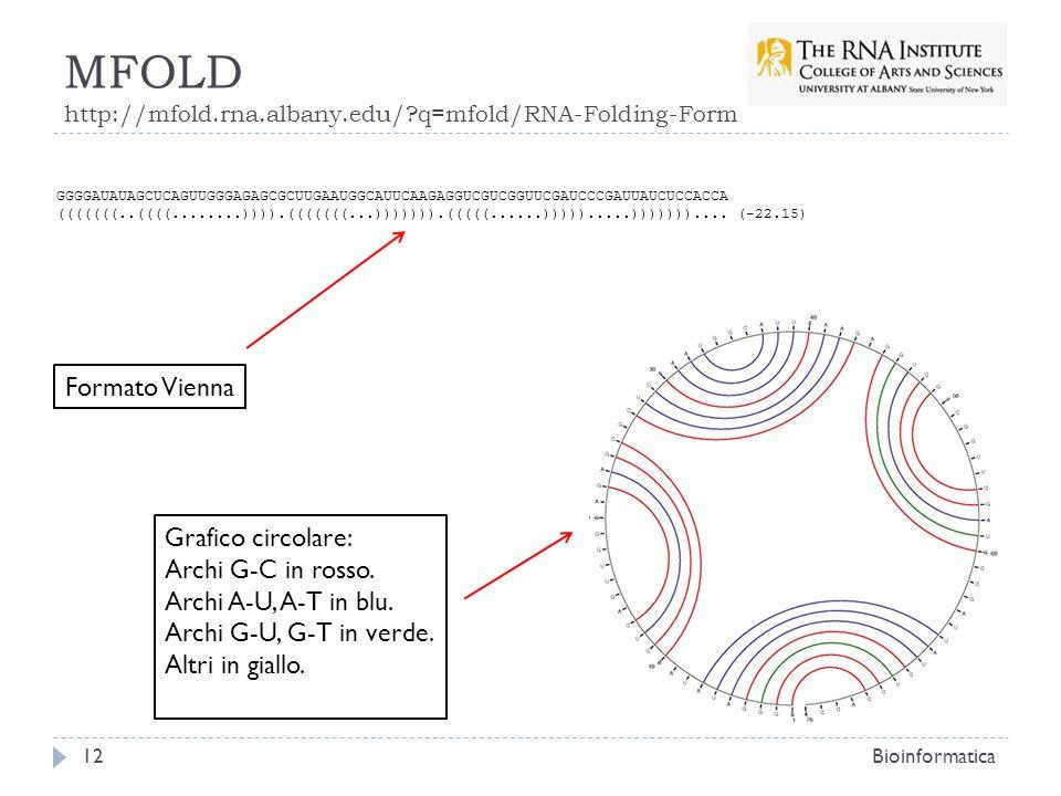 MFOLD http://mfold.rna.albany.edu/?q=mfold/RNA-Folding-Form Bioinformatica12 Formato Vienna GGGGAUAUAGCUCAGUUGGGAGAGCGCUUGAAUGGCAUUCAAGAGGUCGUCGGUUCGA