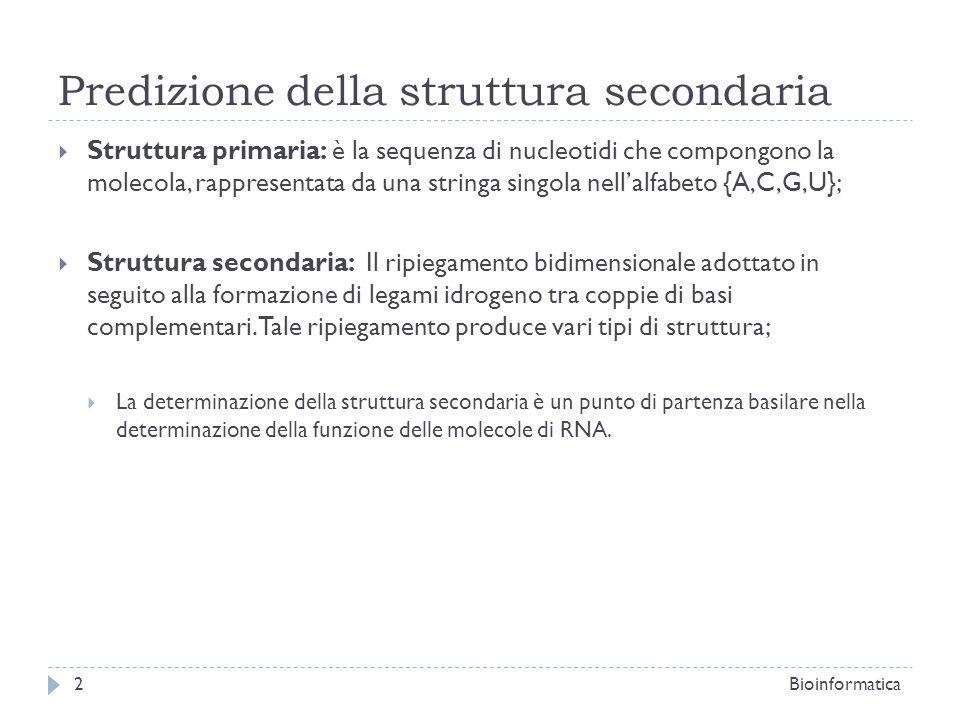 Predizione della struttura secondaria Struttura primaria: è la sequenza di nucleotidi che compongono la molecola, rappresentata da una stringa singola