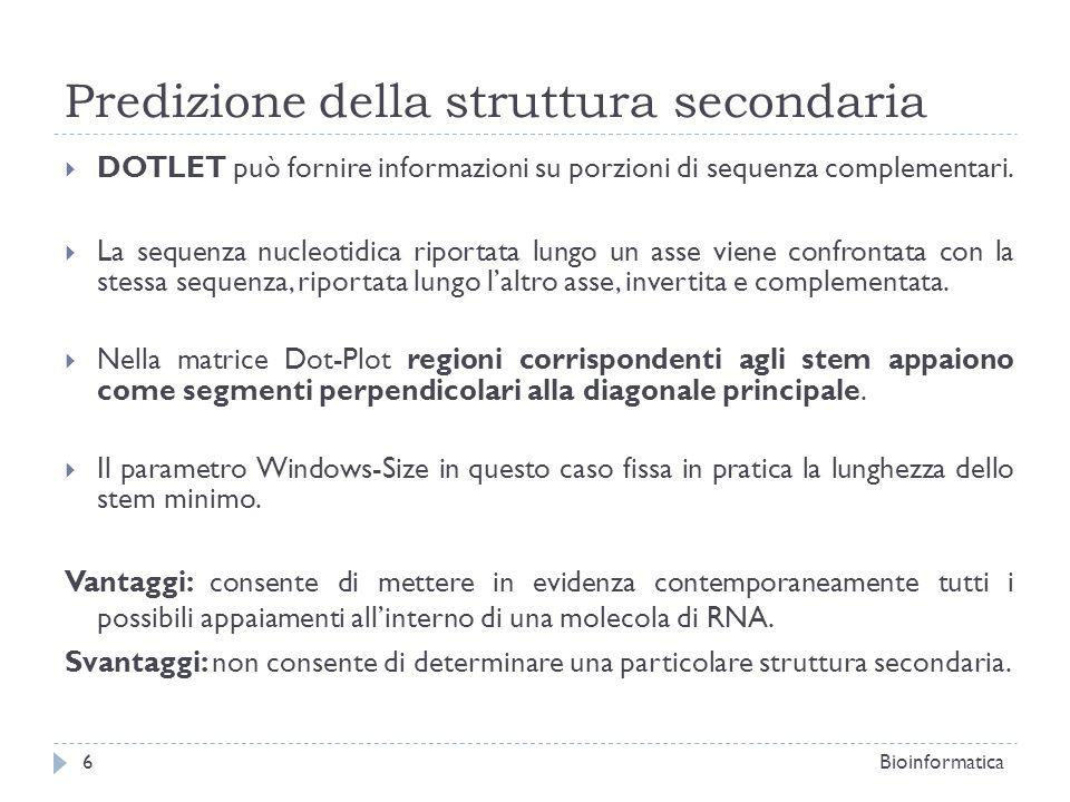 Predizione della struttura secondaria DOTLET può fornire informazioni su porzioni di sequenza complementari. La sequenza nucleotidica riportata lungo