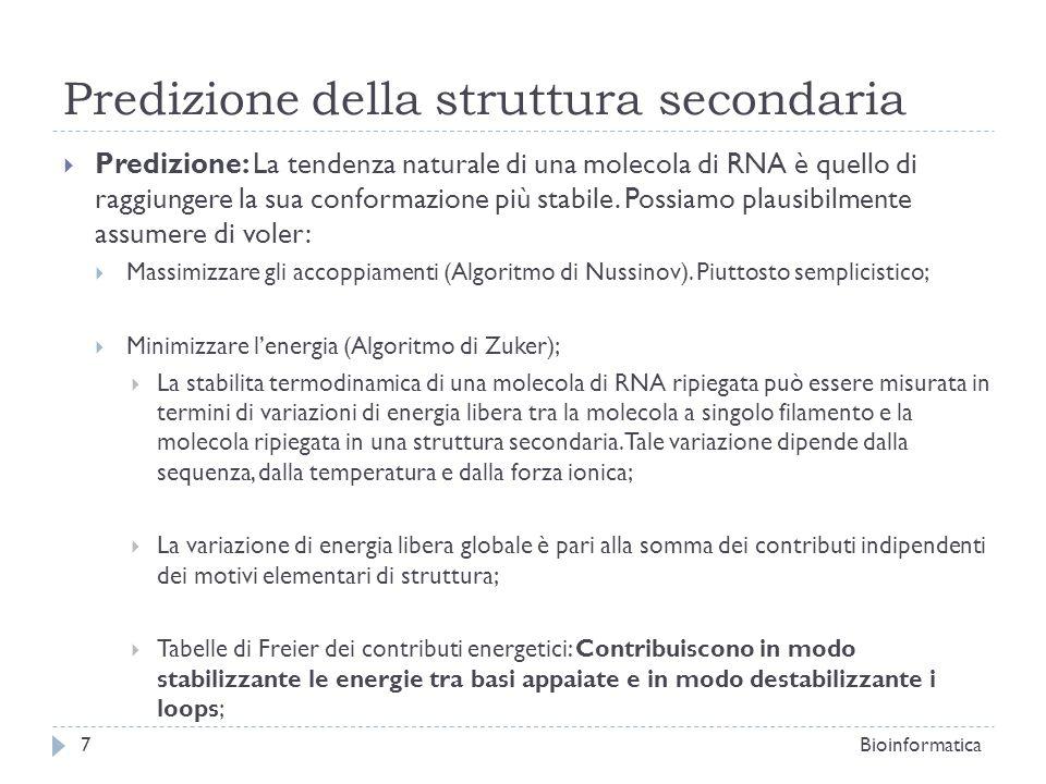 Predizione della struttura secondaria Predizione: La tendenza naturale di una molecola di RNA è quello di raggiungere la sua conformazione più stabile