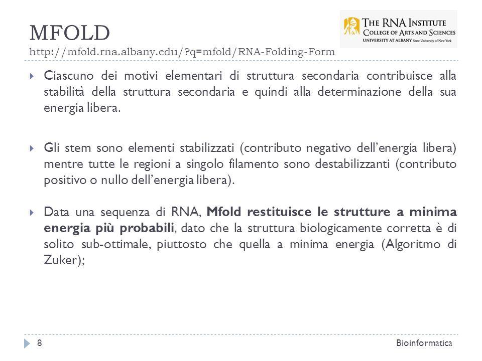 MFOLD http://mfold.rna.albany.edu/?q=mfold/RNA-Folding-Form Ciascuno dei motivi elementari di struttura secondaria contribuisce alla stabilità della s
