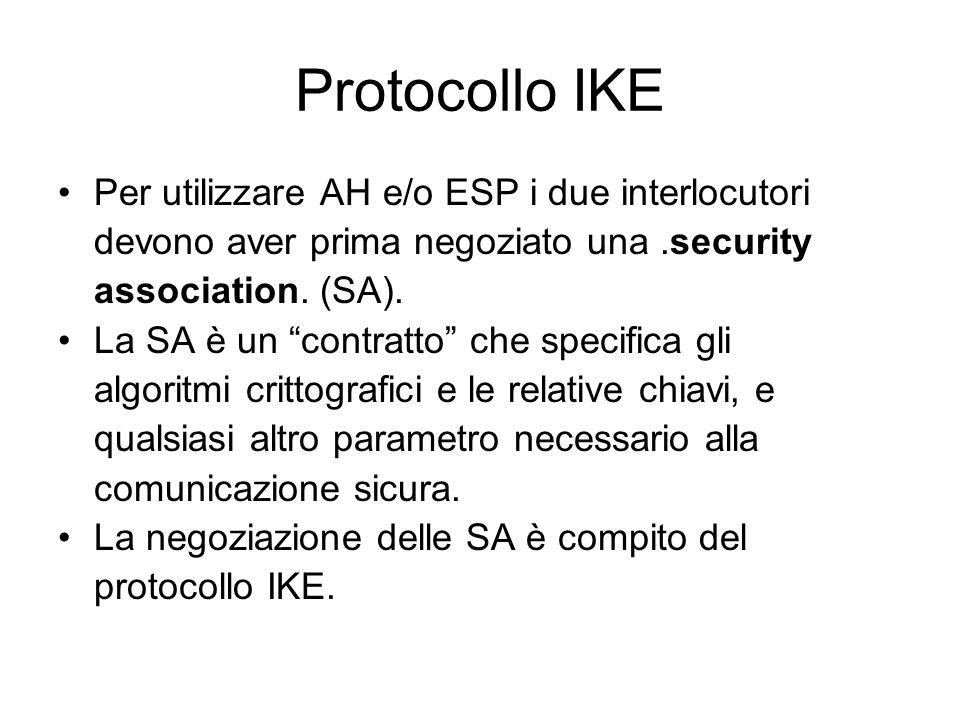 Protocollo IKE Per utilizzare AH e/o ESP i due interlocutori devono aver prima negoziato una.security association.