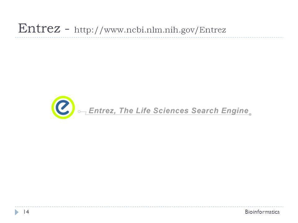 Entrez - http://www.ncbi.nlm.nih.gov/Entrez Bioinformatica14
