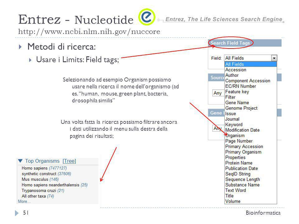 Metodi di ricerca: Usare i Limits: Possono essere usati anche direttamente nel campo di ricerca racchiusi tra [ ] Bioinformatica52 Entrez - Nucleotide http://www.ncbi.nlm.nih.gov/nuccore [accession] Accession number; [all field]; [author]; [ecrno] EC/RN Number (enzyme commission number); [Gene Name] [Issue] [title] [journal] etc…Parametri pubblicazione; [Publication date] Data di Pubblicazione e eventuale Modifica; Lunghezza della sequenza; Ricerca avanzata