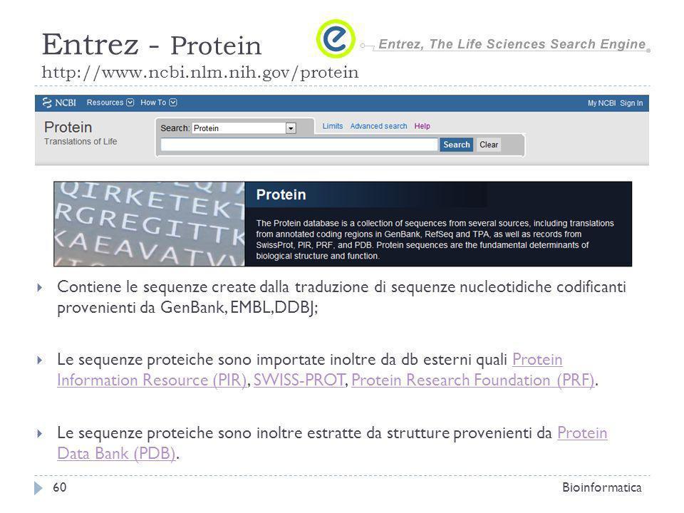 Contiene le sequenze create dalla traduzione di sequenze nucleotidiche codificanti provenienti da GenBank, EMBL,DDBJ; Le sequenze proteiche sono impor