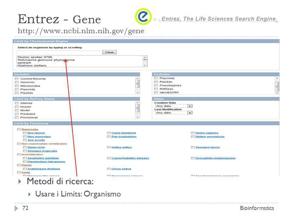 Metodi di ricerca: Usare i Limits: Organismo Bioinformatica72 Entrez - Gene http://www.ncbi.nlm.nih.gov/gene