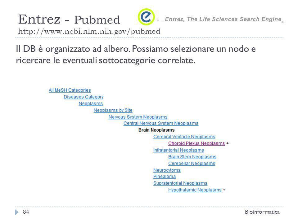 Bioinformatica84 Entrez - Pubmed http://www.ncbi.nlm.nih.gov/pubmed Il DB è organizzato ad albero. Possiamo selezionare un nodo e ricercare le eventua